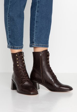 EMMA - Lace-up ankle boots - deep brown
