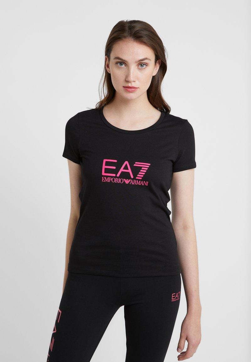 EA7 Emporio Armani - NATURAL VENTUS - T-Shirt print - black / neon pink