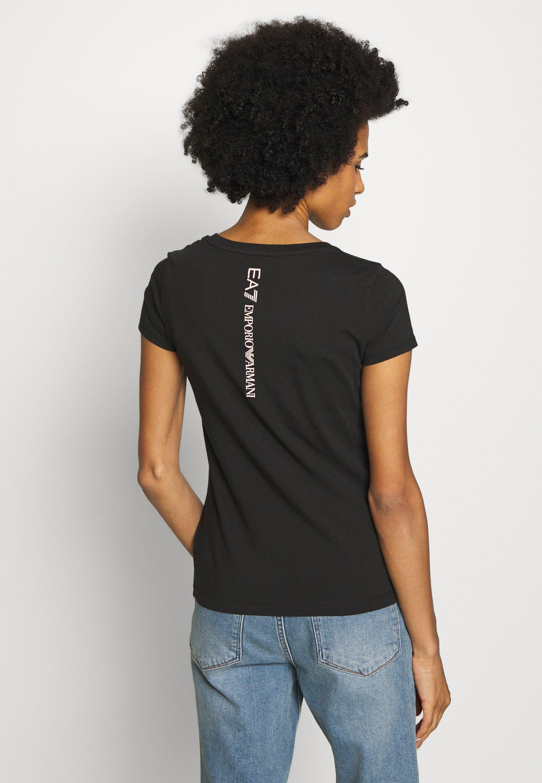 EA7 Emporio Armani Camiseta estampada - black/peach