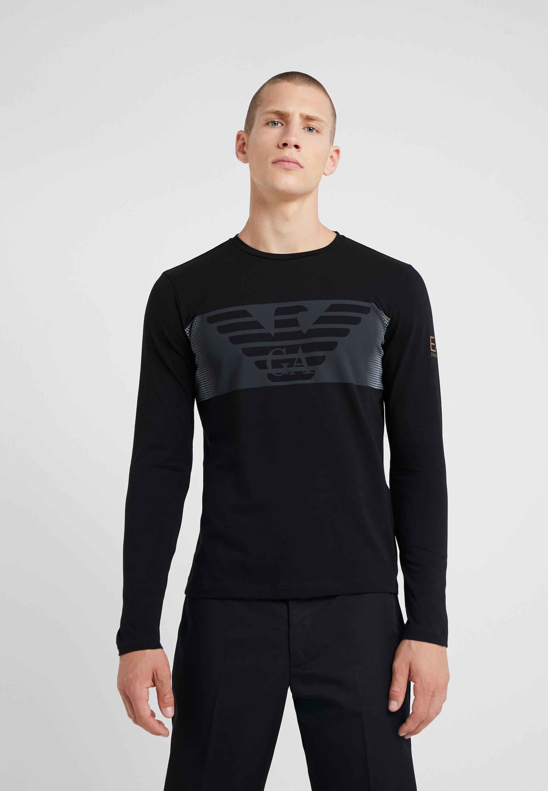 À Emporio T LonguesBlack Ea7 Armani Manches shirt OZkuPXiT