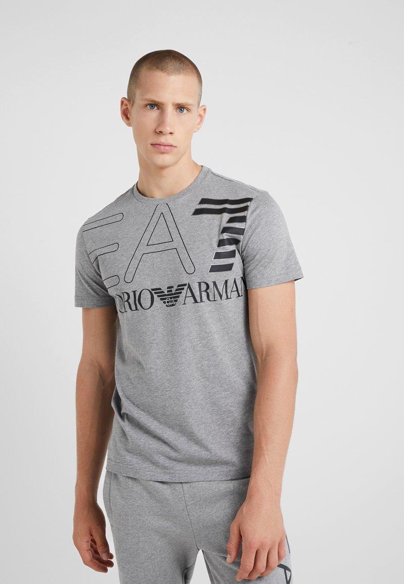 EA7 Emporio Armani - T-shirts med print - light grey melange