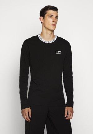 TEE COLLAR LOGO - Bluzka z długim rękawem - black