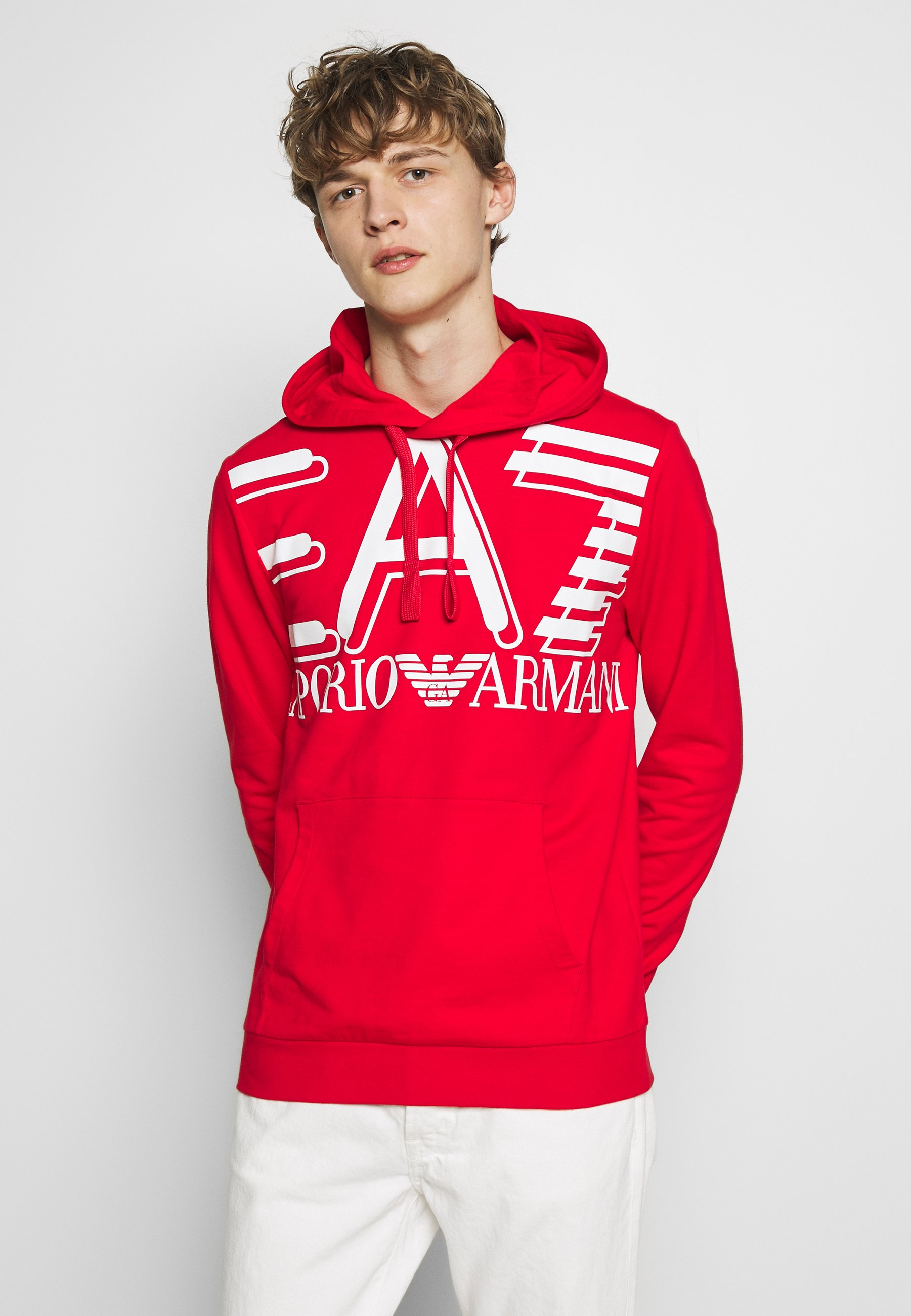 EA7 Emporio Armani HOODIE - Bluza z kapturem - red