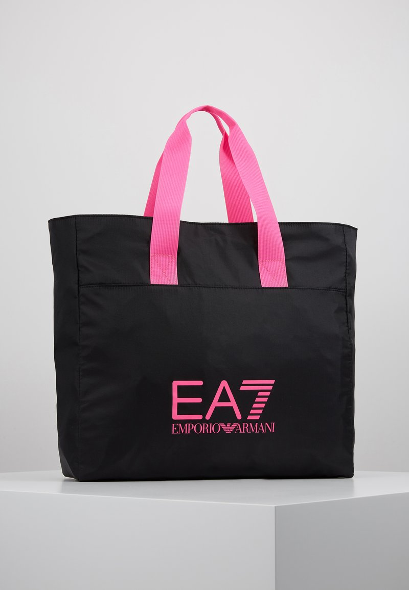 EA7 Emporio Armani - SHOPPER NEON - Tote bag - black / neon pink