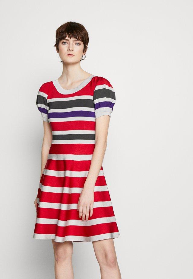 Gebreide jurk - red/purple/light grey