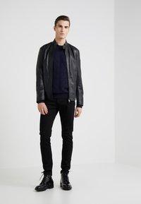 Emporio Armani - CABAN COAT - Kožená bunda - black - 1