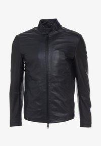 Emporio Armani - CABAN COAT - Kožená bunda - black - 3