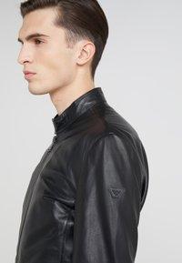 Emporio Armani - CABAN COAT - Kožená bunda - black - 4