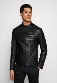 Emporio Armani - CABAN - Leather jacket - black - 0