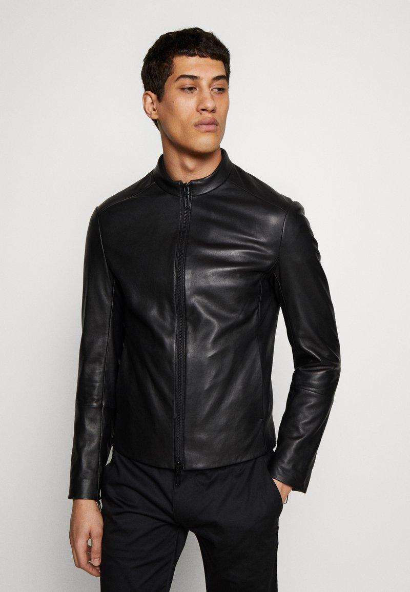 Emporio Armani - CABAN - Leather jacket - black