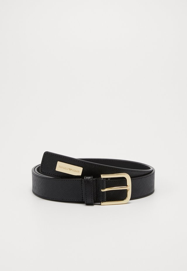 TONGUE BELT SHINY SAFFIANO - Riem - nero
