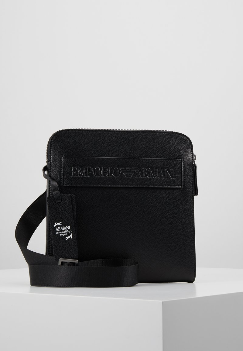 Emporio Armani - FLAT MESSENGER BAG - Across body bag - black