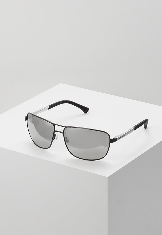 Sunglasses - matte black/grey mirror silver