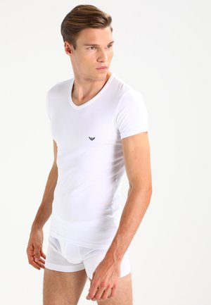 V NECK 2 PACK - Tílko - white/navy blue