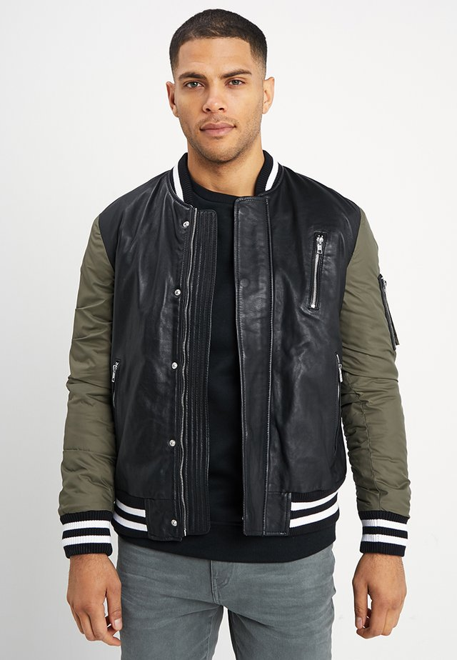 BESASCHA - Leather jacket - black/oliv