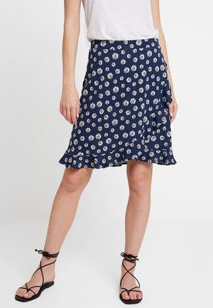 RUFFLE WRAP - A-line skirt - navy