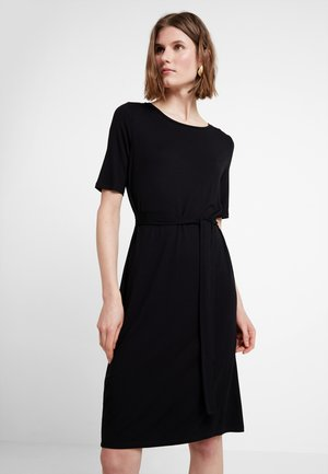BELTED DRESS - Jersey dress - black