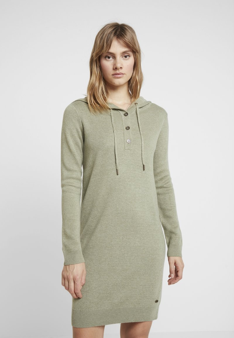 edc by Esprit - HOOD DRESS - Strickkleid - khaki green