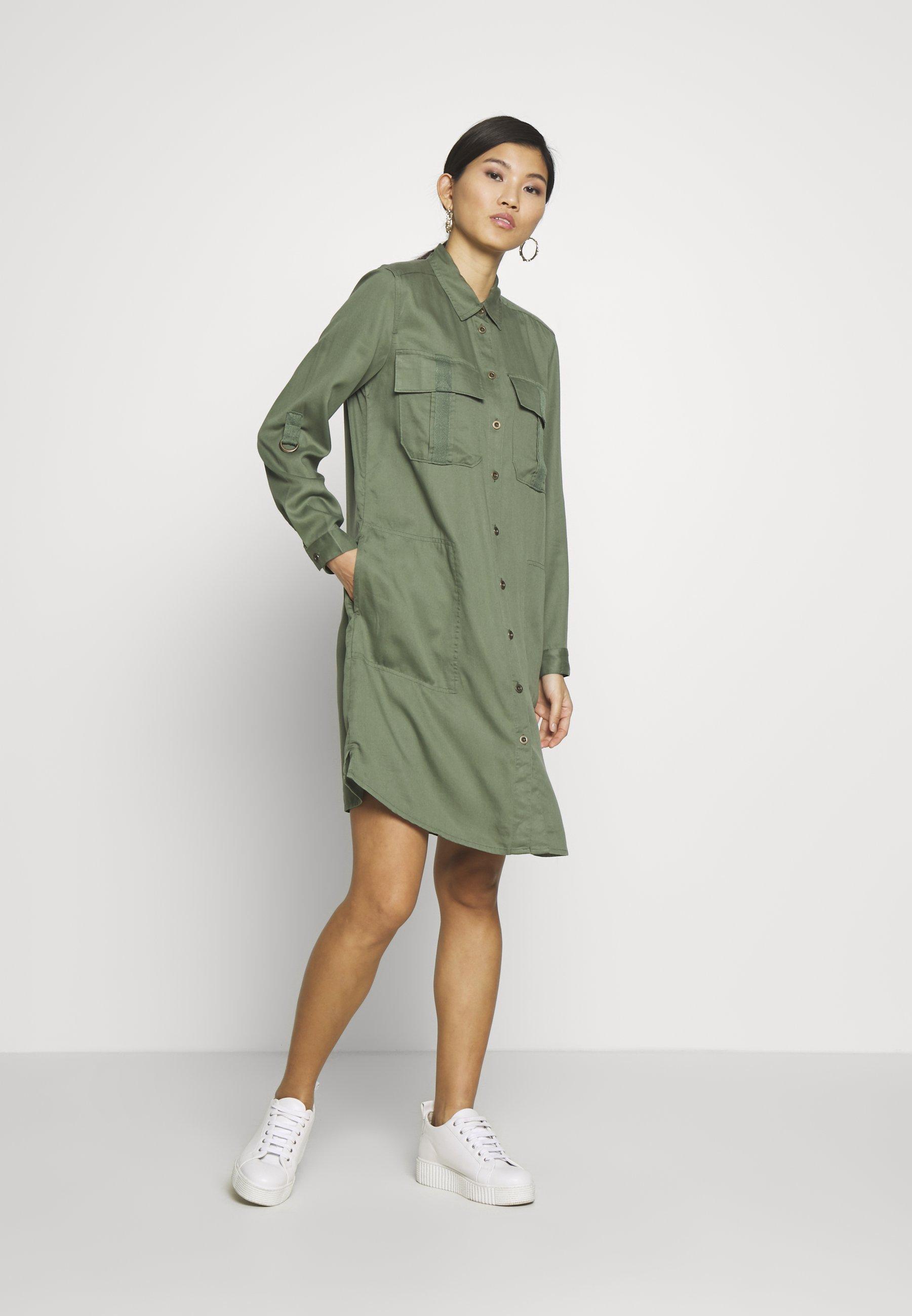 edc by Esprit TWILL Sukienka koszulowa khaki green
