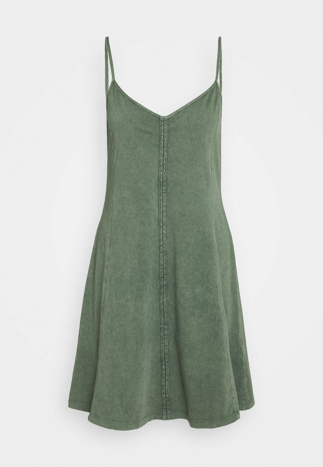 DYED ACID WASH - Jersey dress - khaki green