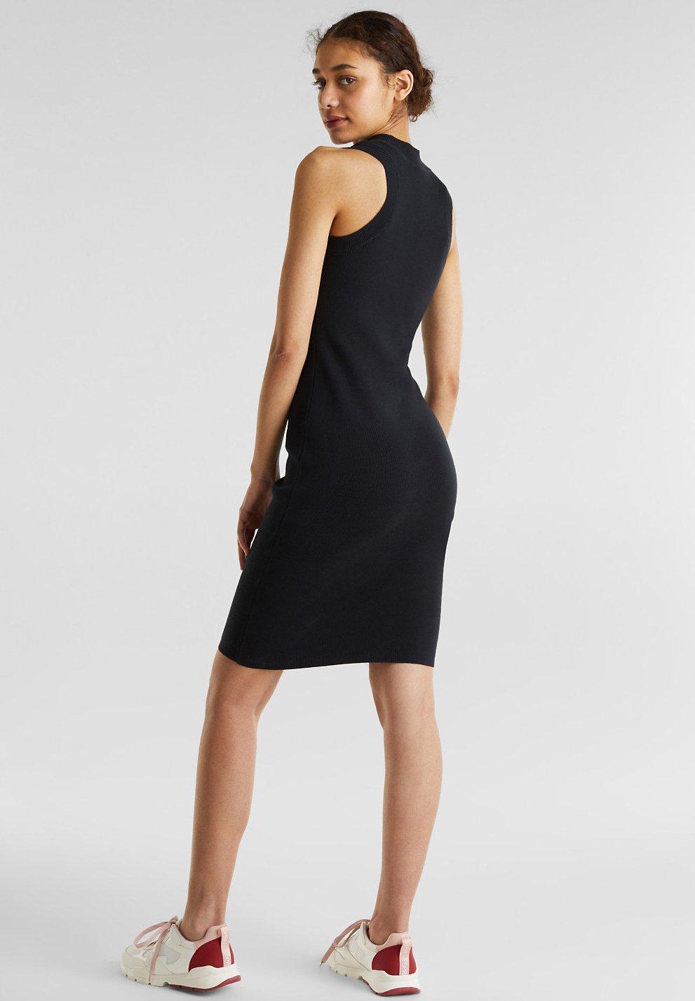 Edc By Esprit Kleid Aus Rippstrick Mit Organic Cotton - Fodralklänning Black