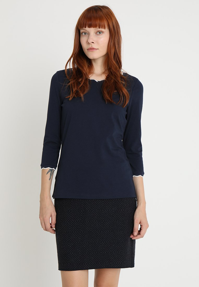 edc by Esprit - SCALLOP TRIM - Long sleeved top - navy