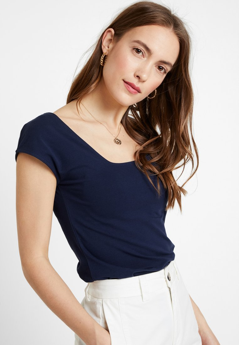 edc by Esprit - SQUARE NECK TEE - T-Shirt basic - navy