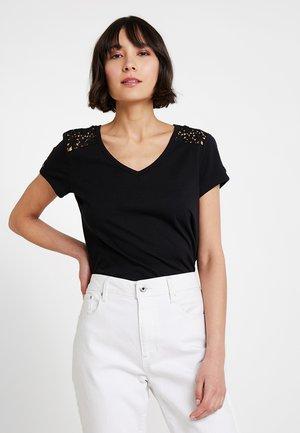 CROCHET MIX TEE - T-shirt imprimé - black