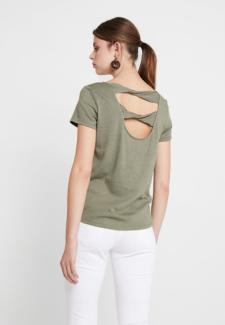 edc by Esprit - TWIST BACK TEE - T-Shirt print - khaki green