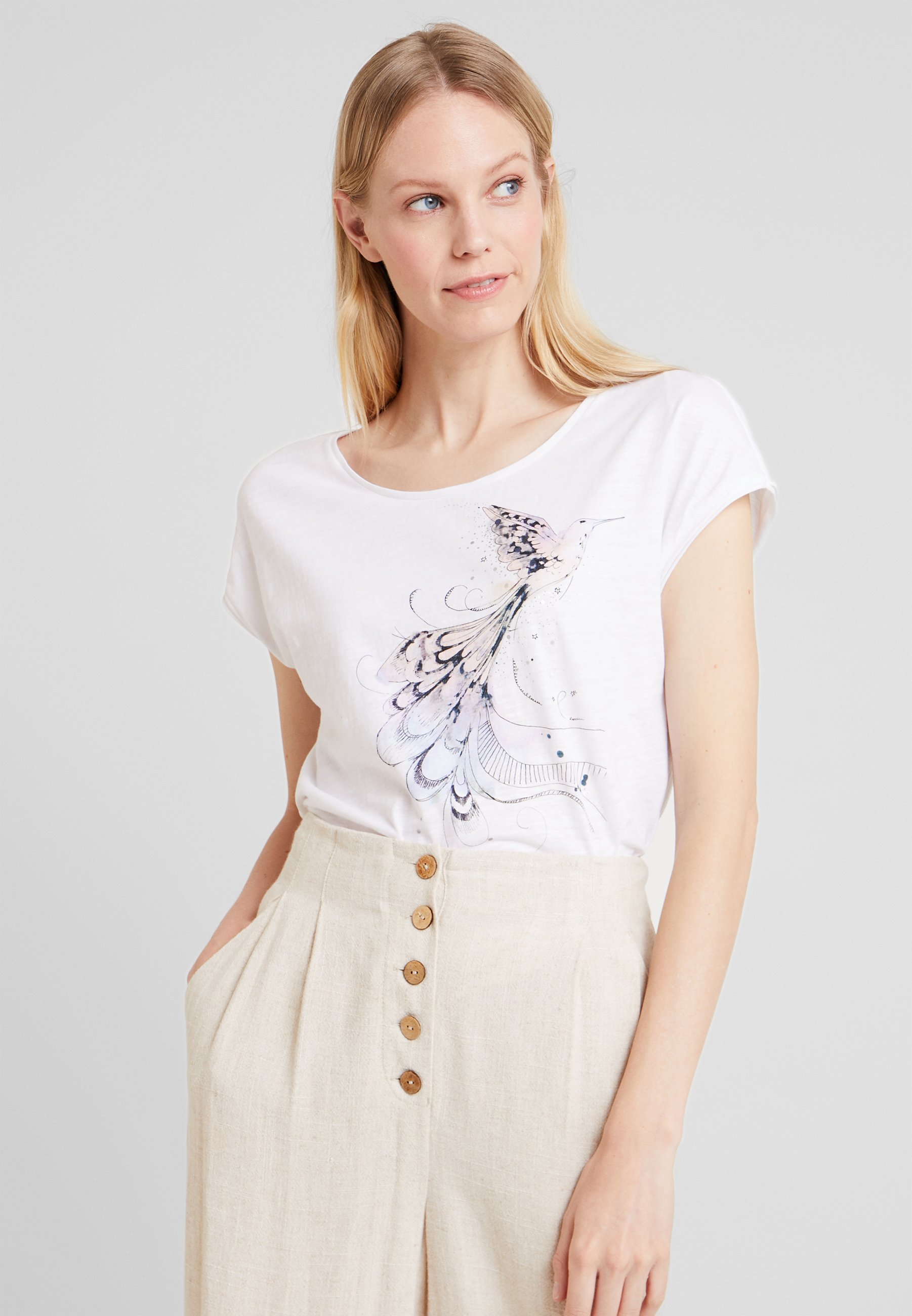 shirt Esprit Edc By Imprimé DroppedT White POikXZu