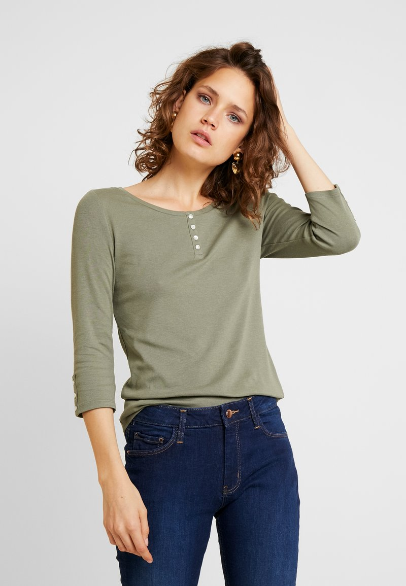 edc by Esprit - FLOW HENLEY - Long sleeved top - khaki green