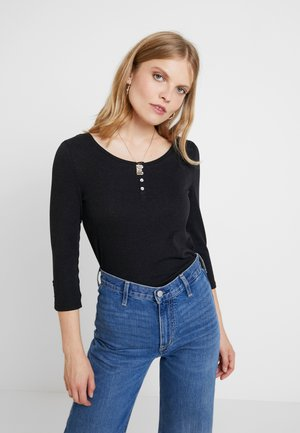 FLOW HENLEY - Long sleeved top - black
