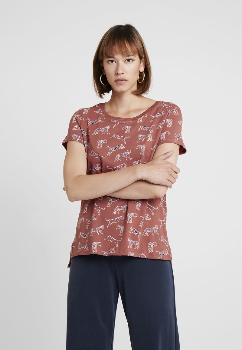 edc by Esprit - CORE TIGERS - T-shirt print - rust orange