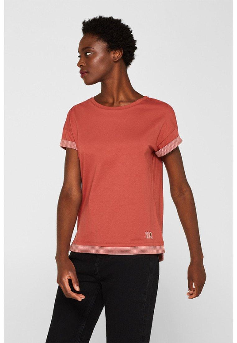 edc by Esprit - MIT STREIFEN-AKZENTEN - Print T-shirt - rust orange
