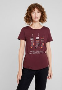 edc by Esprit - CORE CHRISTMAS - T-shirts med print - bordeaux red - 0