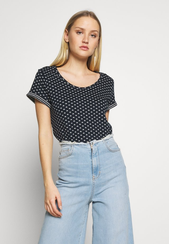 DOUBLE FACE - T-shirt con stampa - navy