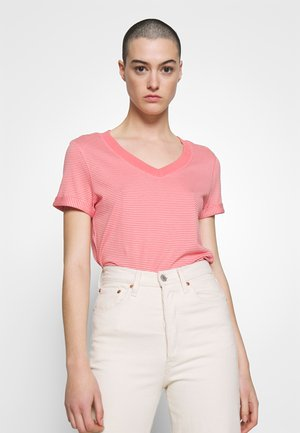 SLIM STRIPE TEE - T-shirts med print - coral