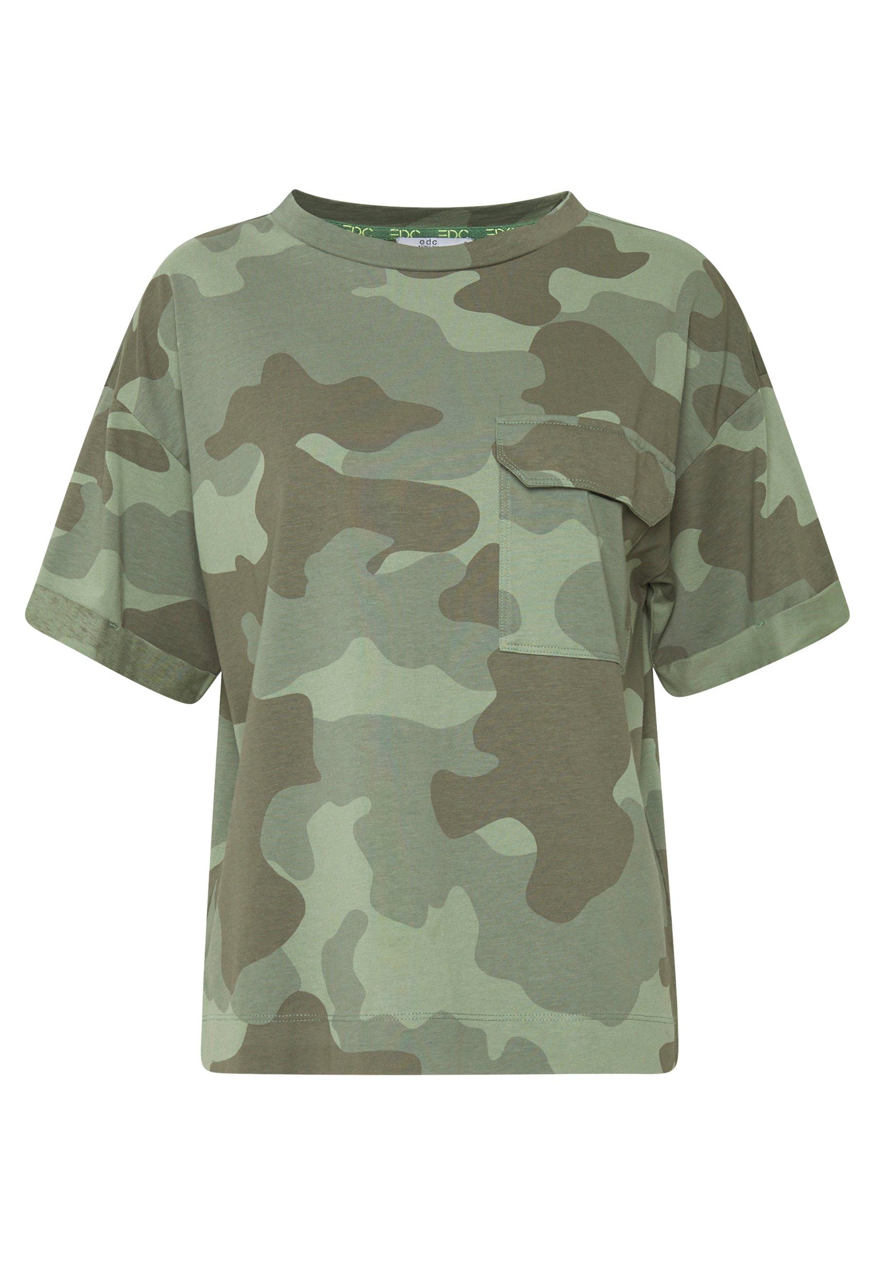 edc by Esprit CAMO TEE - T-shirt z nadrukiem - khaki green
