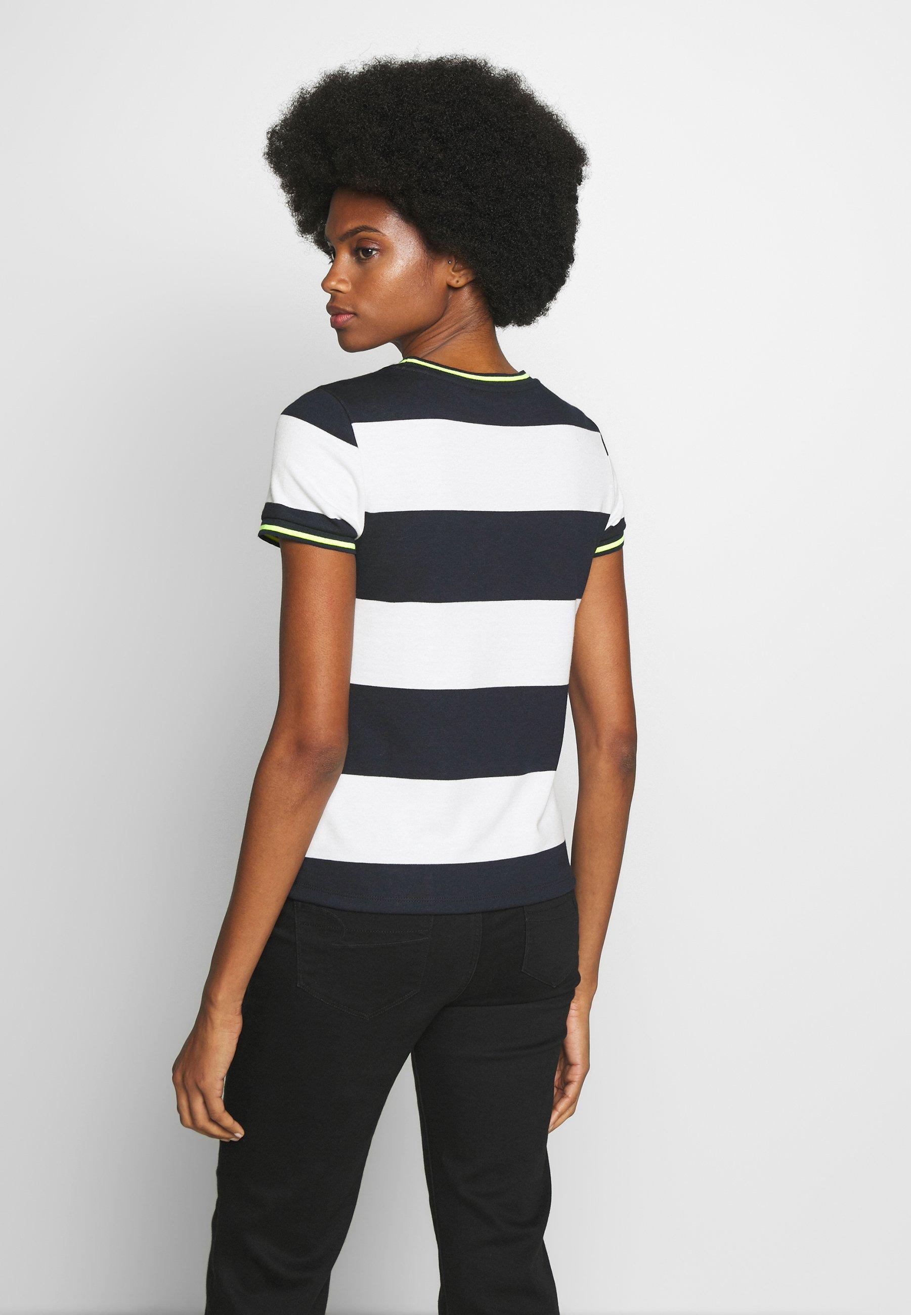 edc by Esprit STRIPE TEE - T-shirt z nadrukiem - navy