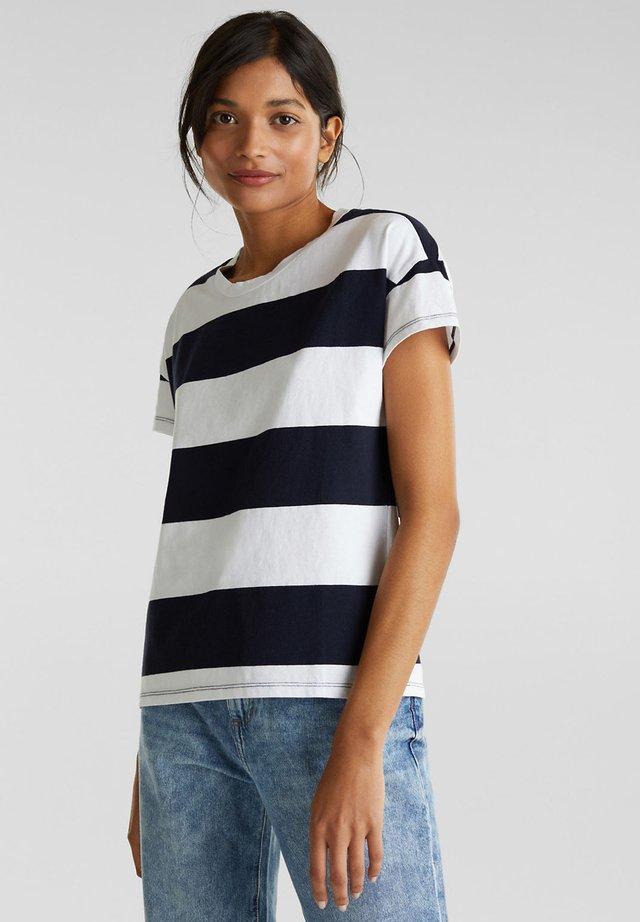 MIT BLOCKSTREIFEN - T-shirts print - navy