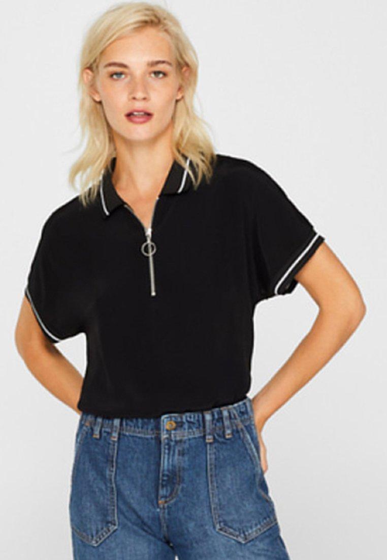 edc by Esprit - MIT ZIPPER - Poloshirt - black