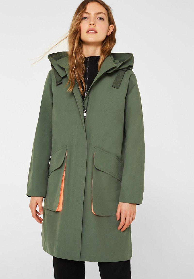 edc by Esprit - MIT NEON-FUTTER - Parka - khaki green