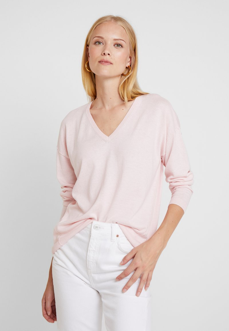 edc by Esprit - V NECK ROUND - Strickpullover - light pink