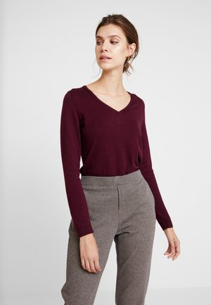V NECK - Pullover - bordeaux red