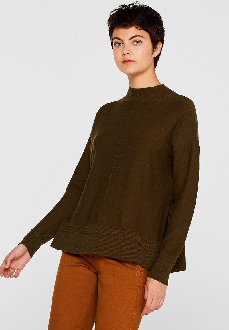 edc by Esprit - MIT LOGO-INTARSIEN - Strickpullover - khaki green
