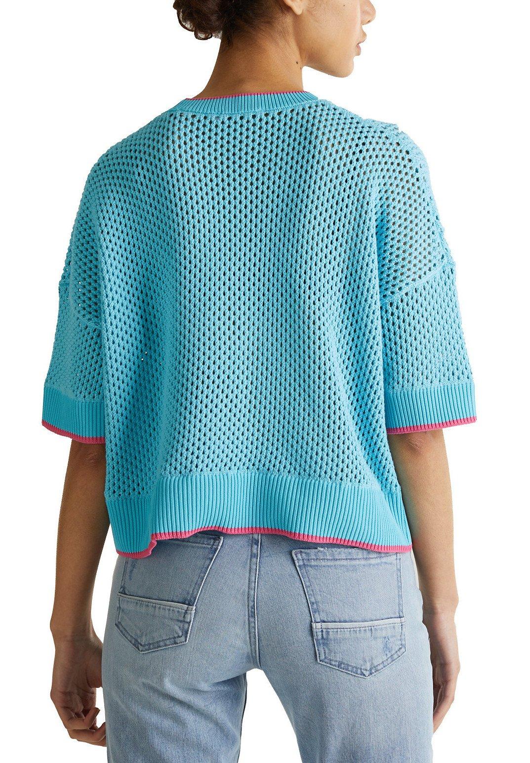 Edc By Esprit Short Mesh Sweater - T-shirt Imprimé Turquoise