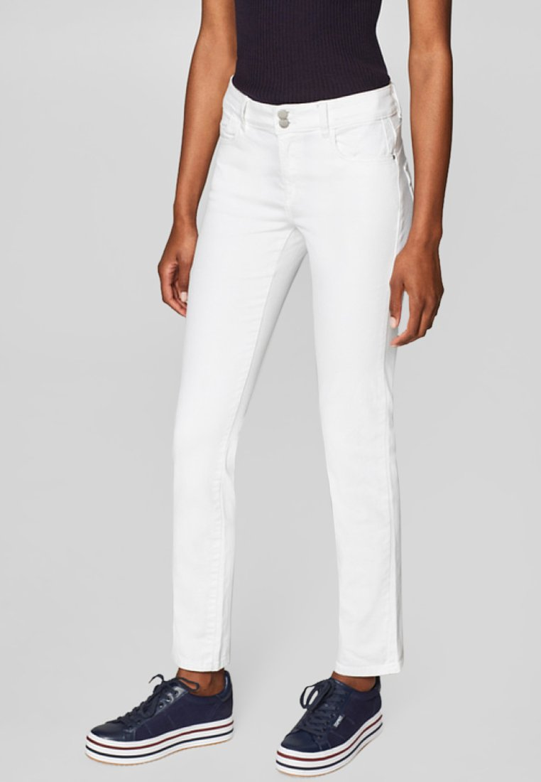 edc by Esprit - MIT DOPPELKNOPF - Jeans Slim Fit - white