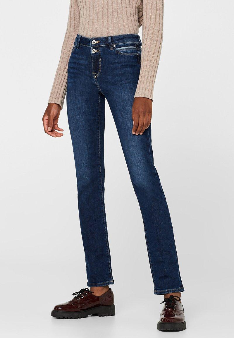 edc by Esprit - MIT BLEACHED-DETAILS - Slim fit jeans - blue dark washed