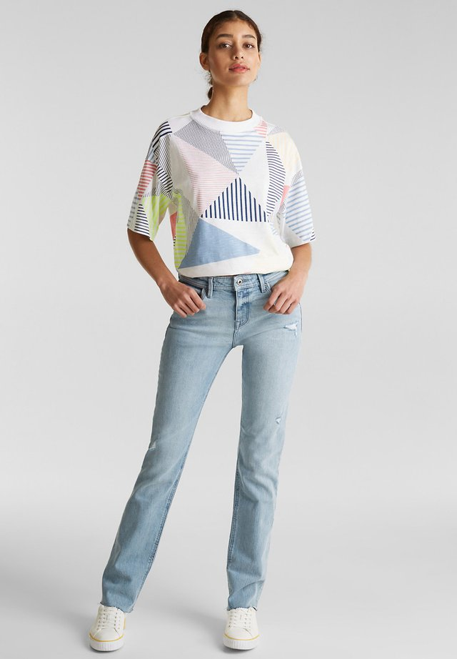 MIT PIPINGS - Jeans Straight Leg - blue light washed