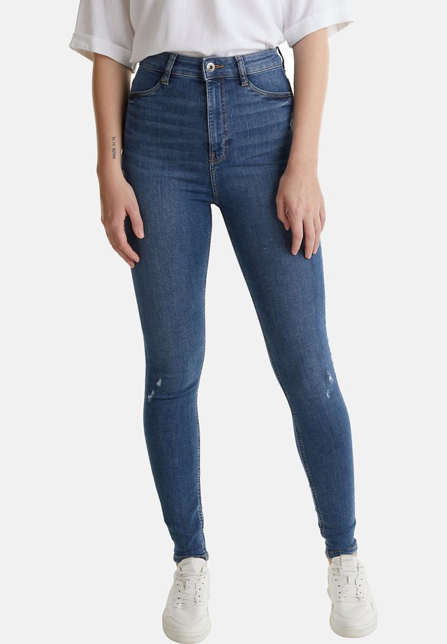 HIGH-WAIST-JEGGINGS MIT USED-EFFEKTEN - Jeans Skinny Fit - blue medium washed